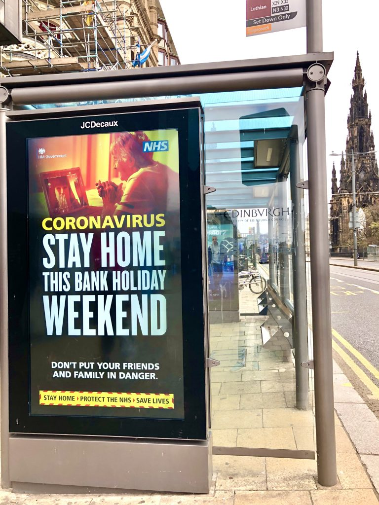 Stay Home Bus Shelter Ad on Princes Street